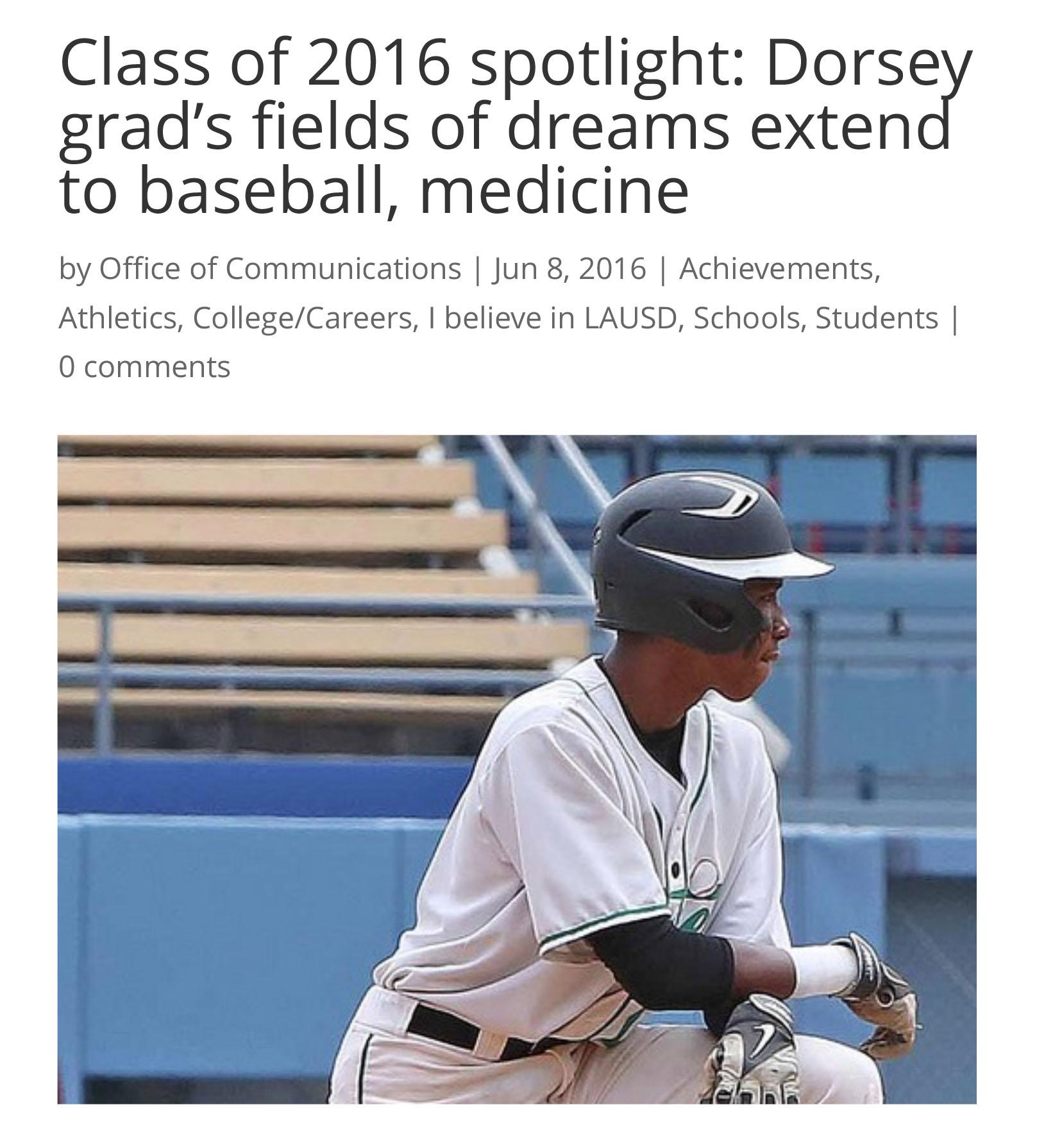 Class of 2016 spotlight: Dorsey grad's fields of dreams extend